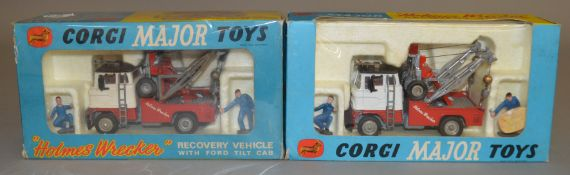 2 Corgi Toys 1142 'Holmes Wrecker' Recovery Vehicles with Ford Tilt Cab, both models appear G/VG