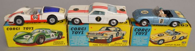 3 Corgi Toys, 318 Lotus Elan S2, 325 Ford Mustang Fastback 2+2 and 330 Porsche Carrera 6, all appear