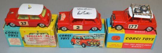 3 Corgi Toys BMC Mini Cooper 'S' diecast Rally Car models including 321 1965 Monte Carlo Rally RN '