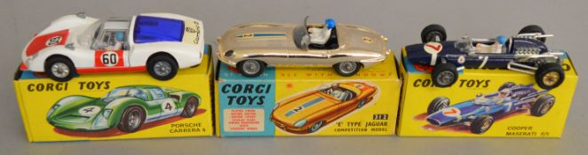 3 Corgi Toys, 156 Cooper Maserati F/1, 312 E Type Jaguar Competition model with plated finish and