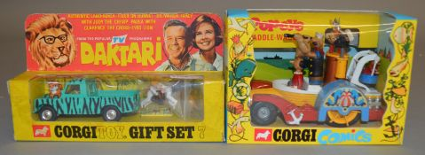 2 Corgi Toys Film and TV related diecast models, 802 Popeye Paddle Wagon, VG boxed and Gift Set 7 '