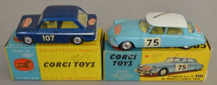 2 Corgi Toys, 323 Citroen D.S.19 in Monte Carlo trim and 328 Hillman Imp Monte Carlo 1966, the
