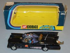 A Corgi Toys 267 'Rocket Firing' Batmobile, G/G+  in F/G box but missing accessories.