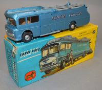 A boxed Corgi 1126 Ecurie Ecosse Car Transporter, metallic light blue version with red lettering,