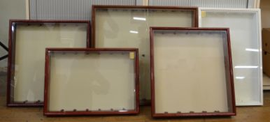 5 display cabinets which all come with glass shelves with the largest measuring approximately H 71cm