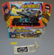 A Corgi Toys 267 Batmobile - version with red 'Bat' hubs and flame effect exhaust, VG in generally