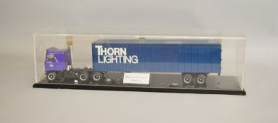 A large plastic model of a Bedford Titan 90 Articulated Delivery Truck in 'Thorn Lighting' livery