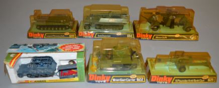 6 boxed Military Vehicle models  including 5 by Dinky - 622 Bren Gun Carrier, 625 Anti Tank Gun, 656
