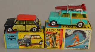 2 Corgi Toys, 249 Mini-Cooper with De-Luxe Wickerwork and  485 Surfing with the BMC Mini Countryman,