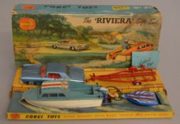 A Corgi Toys No. 31 'The Riviera Gift Set' containing Buick Riviera and Brooklands Trailer, VG, with
