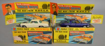 2 boxed Corgi Toys, different versions of the 497 Man from Uncle Oldsmobile 'Thrushbuster', in