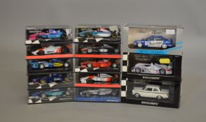 13 boxed diecast models by Minichamps, mostly Formula 1 models (13).