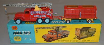 A boxed Corgi Toys Gift Set No. 12 Chipperfields Circus Crane Truck and Cage, G/G+ in F/G lidded