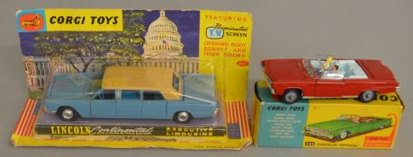 2 Corgi Toys, 246 Chrysler Imperial and a hard to find colour version of the 262 Lincoln Continental