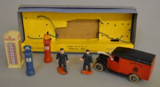 A scarce boxed Pre-War Dinky Toys No. 12 Postal Set containing 12a GPO and 12b Air Mail Pillar