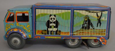 An unboxed and attractively lithographed  Mettoy tinplate 'Bingo's Circus'  six wheel Van with