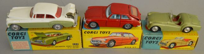 3 Corgi Toys, 224 Bentley Continental, 305 Triumph TR3 Sports Car and 327 MGB GT, all appear G/VG