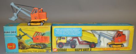 2 Corgi Toys Construction related diecast models including 1128 Priestman 'Cub' Shovel, VG in F