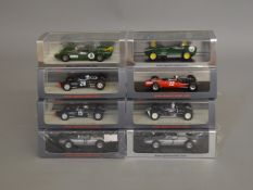 8 boxed Spark diecast models of 1950's/1960's Racing Cars in clear plastic cases all of which retain