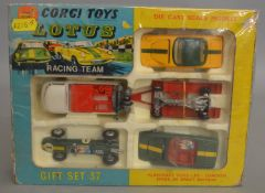 A boxed Corgi Toys Gift Set 37 Lotus Racing Team, models appear G+/VG housed in polystyrene tray