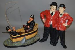2 Laurel and Hardy resin statues (2).