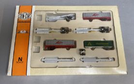 A Con-Cor part container wagon set Santa Fe railroad