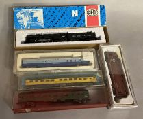 Ex-Shop Stock N gauge  Con-Cur x5 which includes; 5702 black Locomotive and x4 coaches (5).