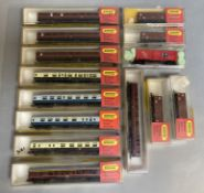 Ex-Shop Stock N Gauge Hornby Minitrix Rolling stock Inc parcel wagons and coaches x 14 (some scuffin