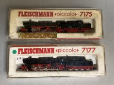 2 x Fleischmann Piccolo Steam Engines 7175 and 7177 VG in F-G Boxes