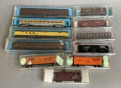 N Gauge rolling stock, by Atlas models x 10 Models are generally G; boxes F-G together with a Trix c