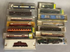 Ex-Shop Stock N gauge Minitrix x13 includes Locomotives, coaches and rolling stock #12280, #3017, #