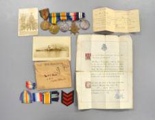 A WW1 1915 medal trio to 'A.E TODD J 22558 ORD R.N.' with an attached Royal Navy long service