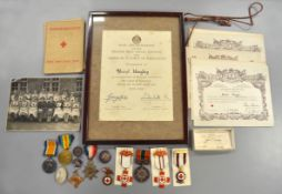 A father & daughter medal collection to Include WW1 trio to Gnr J.Hingley 77435 RFA together with