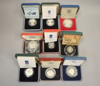 ROYAL MINT - Nine silver proof commemorative coins/medallions to include The Queens Silver Wedding