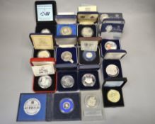 A boxed quantity of silver proof coins/medallions to include Spink & Son 25 Rupee commemorating