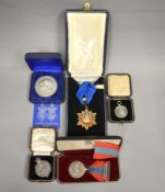 A small boxed quantity of medals to include an Imperial Service Medal in fitted case, The Royal