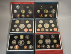ROYAL MINT - Six Deluxe proof coin sets 1995 (x2), 1996, 1998 (x2) & 1999