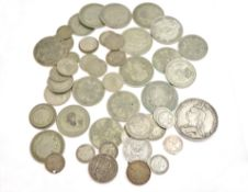 A bagged quantity of pre 47 silver coins approx gross weight 270gms, together with pre 20 silver