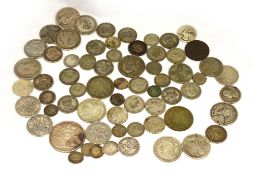 A bagged quantity of silver coins, pre 1920 to include a crown approx 157gms, pre 1947 approx