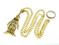 9ct H/M clown pendant and curb chain, approx gross weight 34.1gms together with a two colour ring