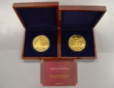 WESTMINSTER - 'The Farewell & First 10oz Gold Plated Commemoratives' boxed coin sets, limited