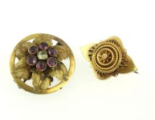 Two Victorian unmarked gold brooches, one stone set, together approx 9.3gms