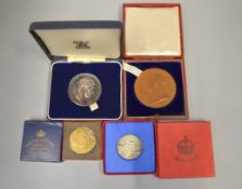 ROYAL MINT - Four commemorative coronation  medallions to include bronze 1897 56mm, silver 1935 32mm