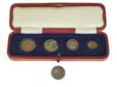 A 1923 Maundy complete silver coin set, in original fitted leather box together with a single 1912