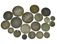 A bagged quantity of pre 20 silver coins to include three crowns, approx gross weight 155gms,