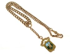 A 9ct H/M double Albert chain together with a 9ct H/M medal fob dated 1917, approx gross weight 40.