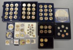 A boxed quantity of commemorative coins/medallions to include forty eight boxed $1 Dollar Cook