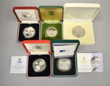 ROYAL MINT - Five silver £5/commemorative proof Crowns to include, Queens Silver & Golden Wedding