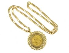 A 9ct H/M half sovereign pendant & chain, sovereign dated 1913, approx gross weight 11.8gms