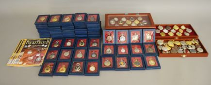 119 pocket watches from The Pocket Watch Collection by Hachette, around half the collection are in